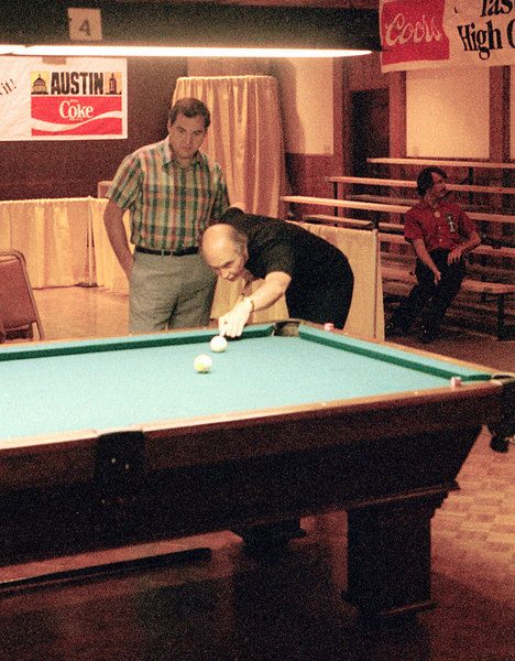 "Bill Stroud - The ""Legendary Cue Maker"" tries to make the 9-ball in the side pocket"