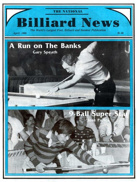 Billiard News cover in April of 1986. Getting a couple of my shots on this cover was very satisfying, but soon after this I found that I was no longer interested in photographing pool tournaments. BTW, Gary Spaeth's name is MISSPELLED on this cover!