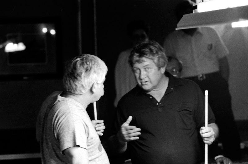 """Ronnie Allen chatting with Warren """"Monk"""" Costanzo."""