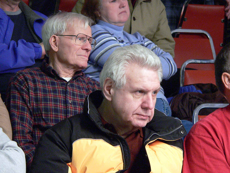 Spectators looking intently at a match
