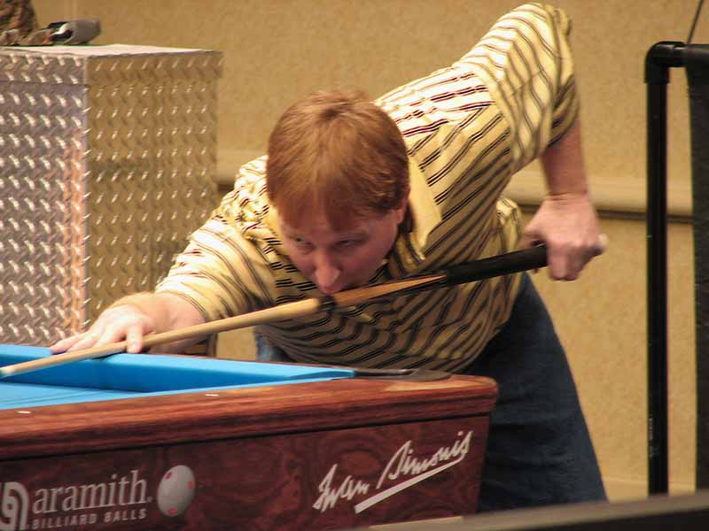 Jamie Farrell - don't eat that cue stick, Jamie!