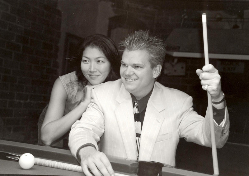 Jeanette Lee and C.J. Wiley - this is a posed shot taken by an unknown photographer in the late 1990s. We include this image because C.J. was such an important element of the Dallas pool scene in the 1980s and 1990s.