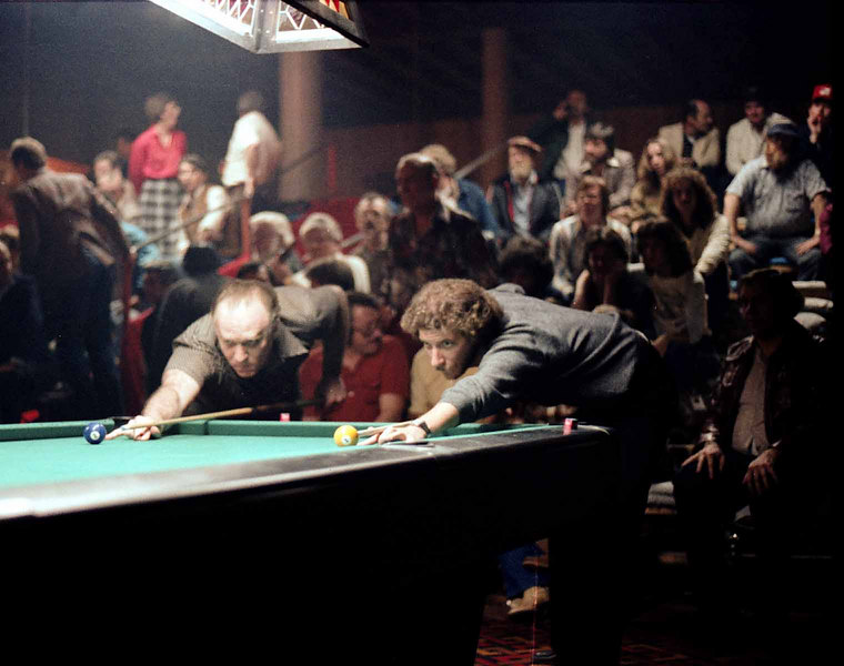 Jack Breit and Jim Rempe - Lagging for the break while the crowd looks on. Everyone but that lady in the red blouse. This shot really captures the atmosphere of the tournament.