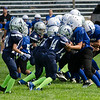 The Leominster Blue Devils 4th grade AYF team plays against Worcester during the jamboree at St. Bernard's on Saturday morning. SENTINEL & ENTERPRISE / Ashley Green