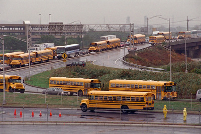 Buses arrive at Giants Stadium