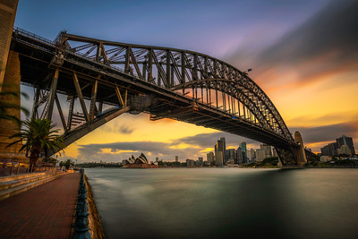 Sunset skyline of Sydney downtown with Harbour Bridge