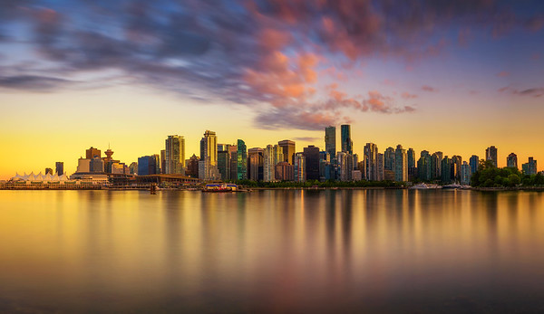 Sunset skyline of Vancouver downtown from Stanley Park