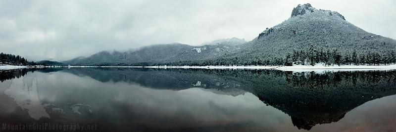 Wellington Lake Fog Panorama