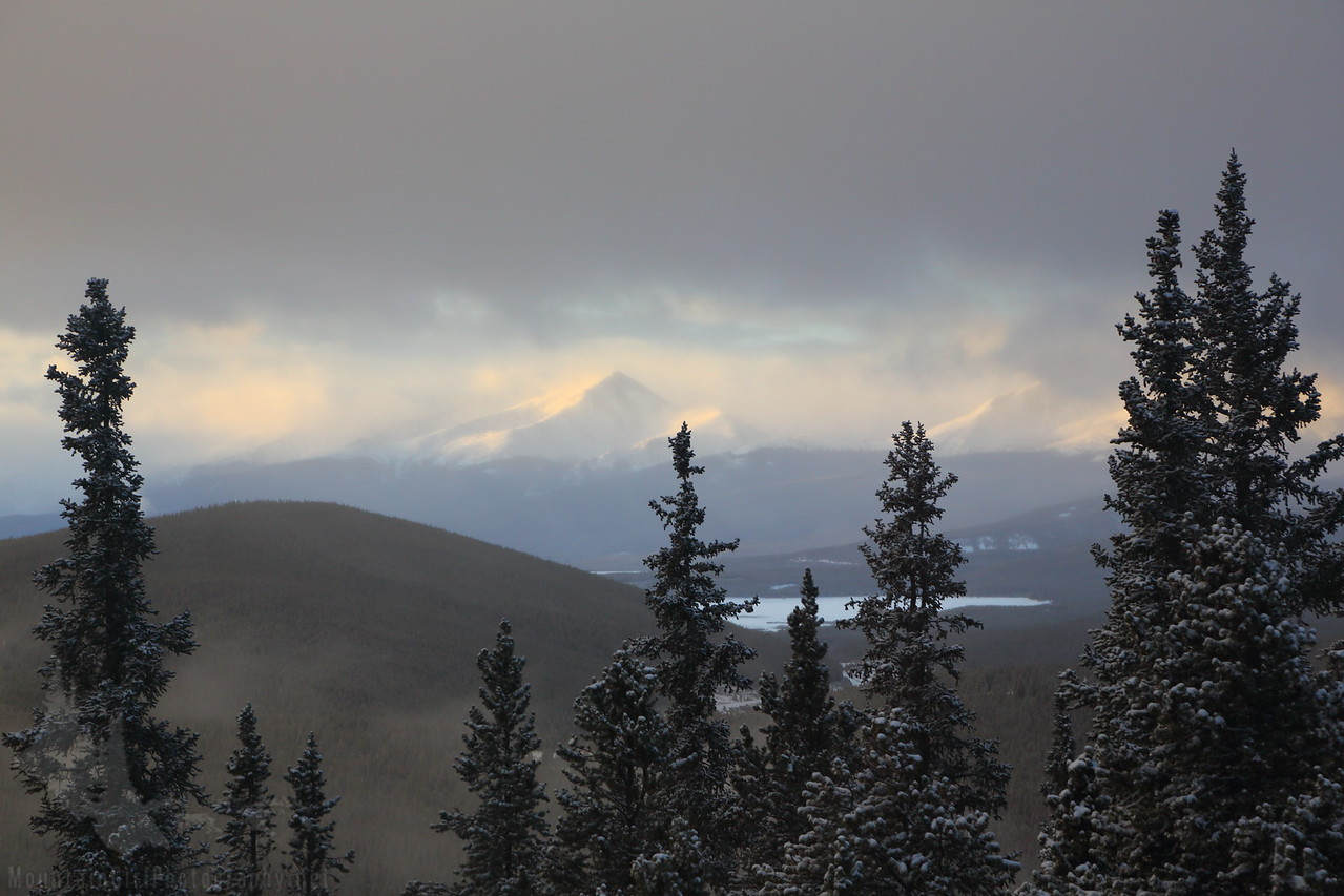 Mt. Elbert emerges from the morning fog, as seen from Vance's cabin.