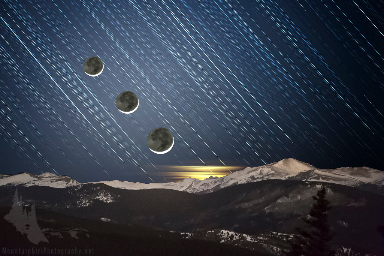 Star Trails and Moon Progression #2