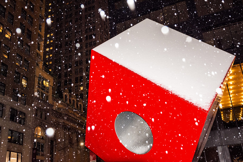 Red Cube and Snow