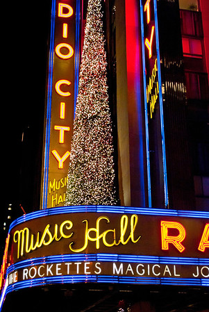"""Radio City Marque Vertical""  NEW YORK-DEC 2 2011: Radio City Music Hall decorated for the holidays as seen on December 2, 2011."