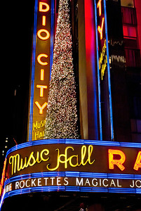 """""""Radio City Marque Vertical""""  NEW YORK-DEC 2 2011: Radio City Music Hall decorated for the holidays as seen on December 2, 2011."""