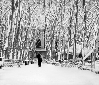 """Trudging Through the Snow"" 2005 Peaceful Bryant Park in Manhattan after a fresh snowfall."