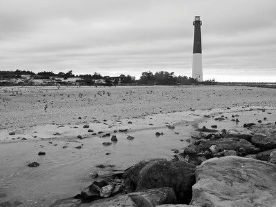 """Barnegat Lighthouse B&W"" A seascape of the Barnegat Lighthouse on Long Beach Island along the Jersey Shore."