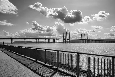 Sky and Bridge Black and White