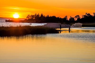Net Fishing at Sunset