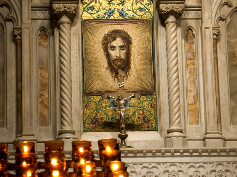 """""""Veronica's Veil"""" <br /> The face of Jesus on a cloth replica on display at St. Patrick's Cathedral in New York City."""