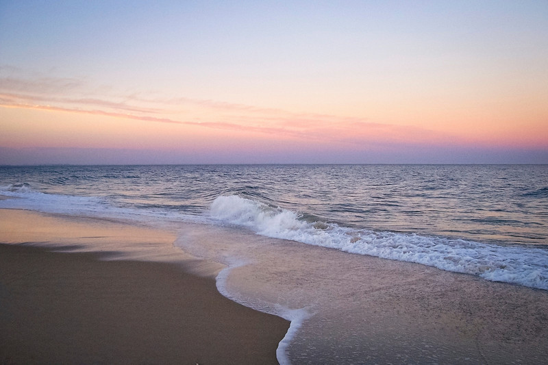 """""""Surf at Dusk, Sandy Hook""""<br /> A colorful sunset view from the beach on Sandy Hook, along the Jersey shore."""