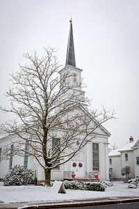 Old White Church in Snow