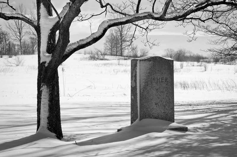 """""""Fisher RIP""""<br /> An old tombstone in The historic Old Tennent Cemetery in Central New Jersey."""