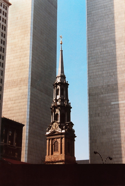 St Paul's Chapel (1766) photographed between the towers of the World Trade Center, early 1980s. The church building itself was un-harmed and served as a recovery center in the aftermath of 9-11.