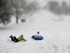 """Hey Wait for Me""<br /> Kids sledding on a small neighborhood hill, one missed the ride!"