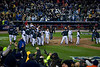 The Yankees celebrate at home plate after the dramatic extra inning victory during game 2 of the 2009 ALCS vs the Anaheim Angels at the new Yankee Stadium in the Bronx.