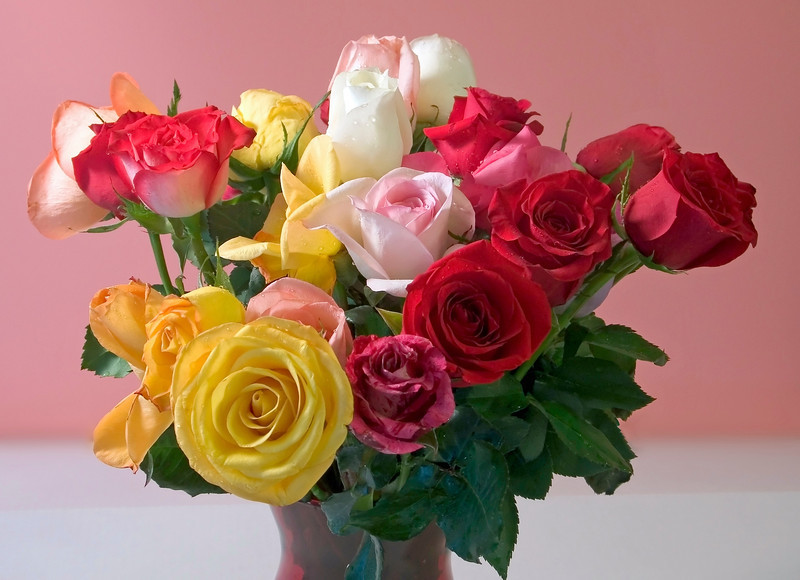 """Rainbow Roses""<br /> A still life of a bouquet of multi-colored roses."