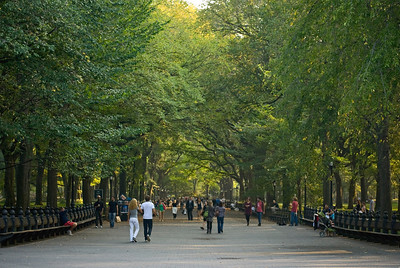 """The Mall, Late Summer"" People enjoying a stroll through Central Park in late Summer."