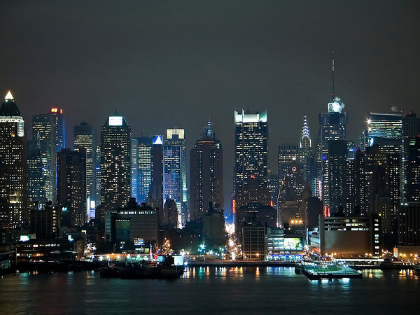 """Bright City"" An evening view of the New York City skyline from across the Hudson River."