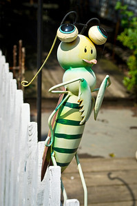 """""""Metal Works Bee"""" A handcrafted metal works bee on display outside a country store in the Pocono Mountains of Pennsylvania."""