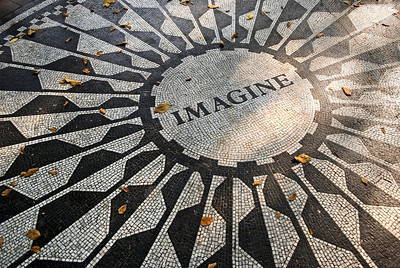 """Imagine Mosaic"" The John Lennon Imagine mosaic in Strawberry Fields in Central Park, Manhattan.  http://www.zazzle.com/imagine_mosaic_central_park_nyc-239775755768303534"