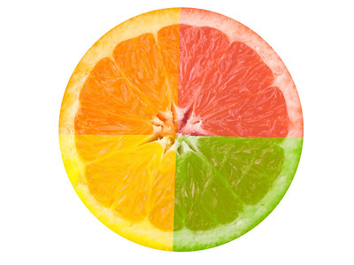 """Citrus Fruit"" A composite photograph of four citrus fruits."
