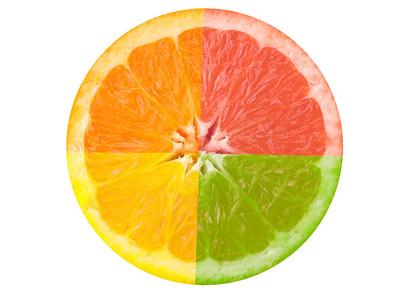 """""""Citrus Fruit"""" A composite photograph of four citrus fruits."""