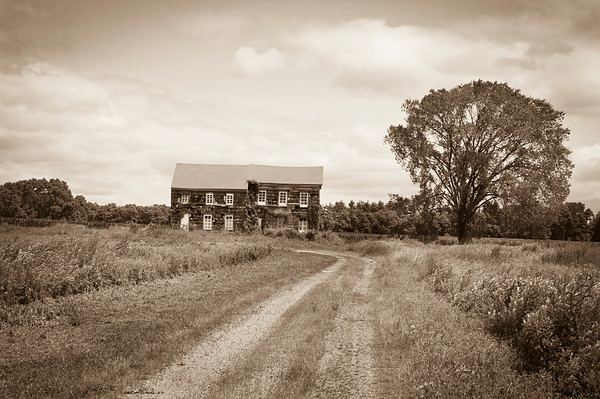 """Historic Home Sepia"" A sepia toned look at the historic Molly Pitcher home in Monmouth Battlefield State Park in Monmouth County, New Jersey."