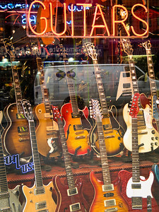 """""""Guitar Store"""" A guitar store window display in a music store in New York City."""