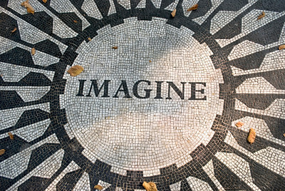 """Imagine"" The John Lennon Imagine mosaic in Strawberry Fields in Central Park, Manhattan. http://www.zazzle.com/imagine_central_park_nyc-239995777650302911"