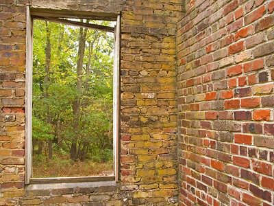 """Natures Window"" An abandoned old brick building with a view of the Summer woods in Allaire Village in New Jersey."