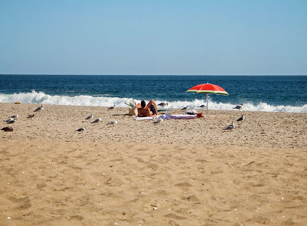 """Almost Alone"" A peaceful beach scene along the Jersey Shore on a nice sunny day."