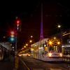 A Tram pulls away from Flinder's Street Station towards Melbourne University.