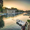 Boats lie moored in the early morning at Peschiera Del Garda.