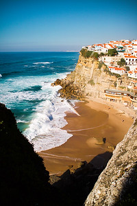 Azenhas do Mar north of Lisbon and Sintra in Portugal.  One of the most beautiful sites you will ever behold.  Worth the visit, needless to say.