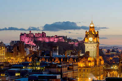 Pink Edinburgh Castle from Calton Hill