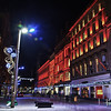 A night scene in Buchanan Street Glasgow, post Christmas Sales.  Frasers in it's traditional Christmas Red.