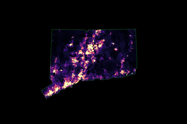Population density heatmap of Connecticut