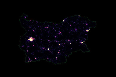 Population density heatmap of Bulgaria