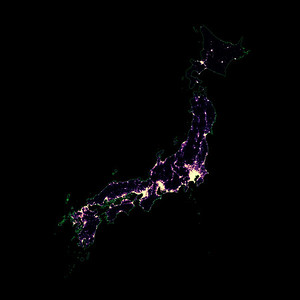 Population density heatmap of Japan