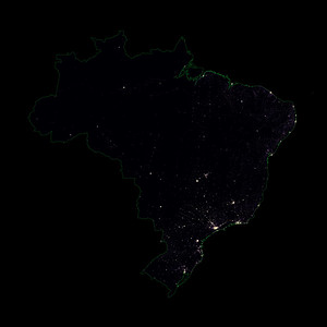 Population density heatmap of Brazil