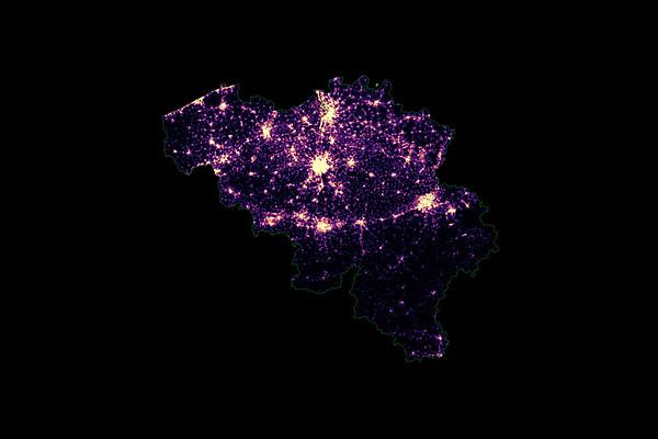 Population density heatmap of Belgium